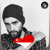 Singapore Flag Heart Effect : Photo Editor icon