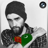 Turkmenistan Flag Heart Effect : Photo Editor icon