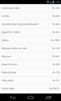 Spare Parts Price List ktm (India) poster