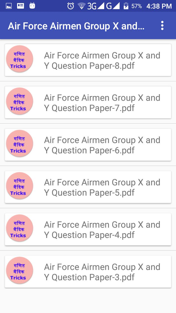 Airforce Airmen Group X and Y Question Papers for Android