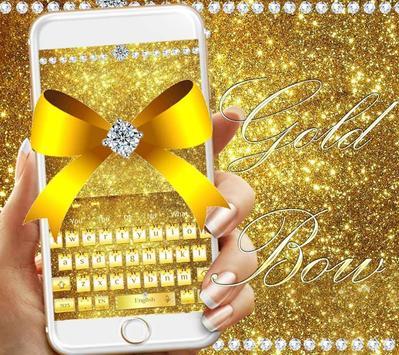 Diamond Gold Bow Keyboard Theme apk screenshot