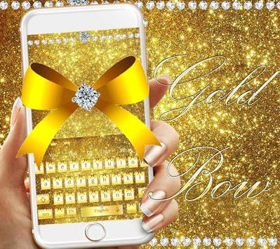 Diamond Gold Bow Keyboard Theme screenshot 3