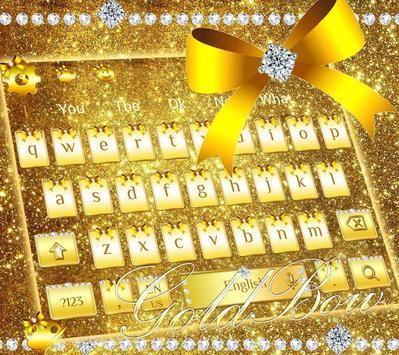 Diamond Gold Bow Keyboard Theme screenshot 1