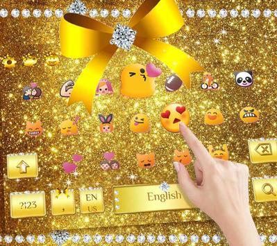Diamond Gold Bow Keyboard Theme screenshot 2