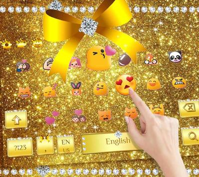 Diamond Gold Bow Keyboard Theme screenshot 8