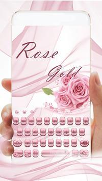 Pink Rose Gold Keyboard Theme poster