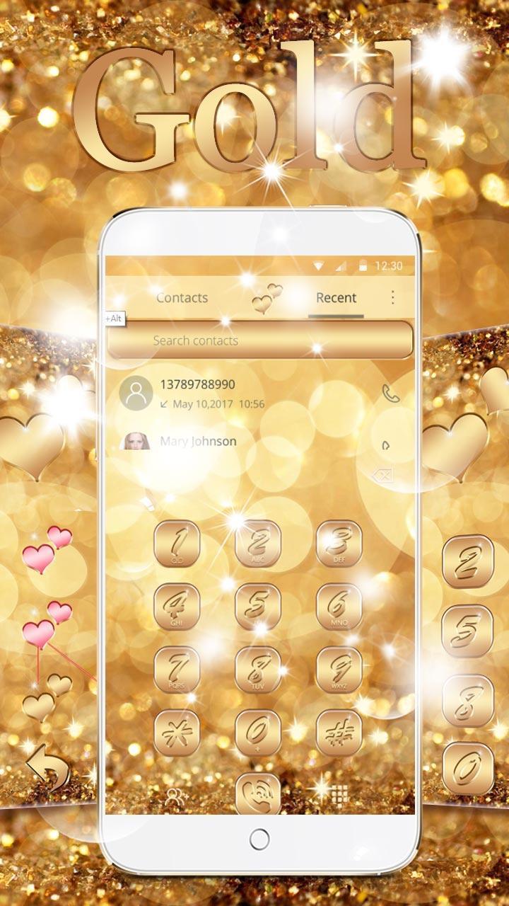 Android 用の ネオンゴールドキラキラテーマの壁紙 Neon Gold Glitter
