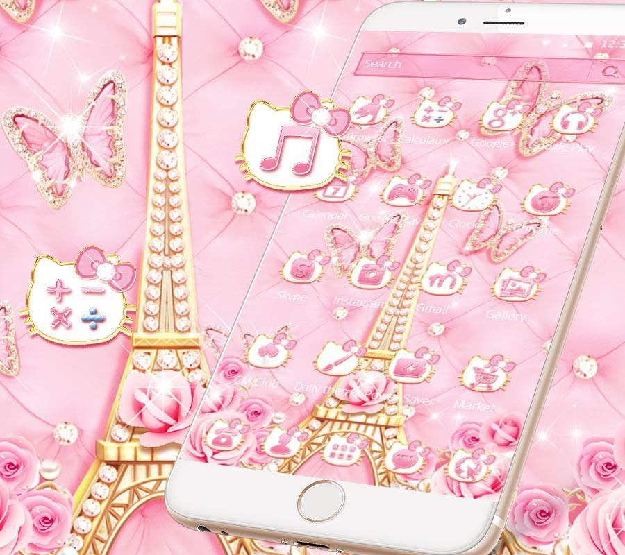 Pink Paris Diamond Kitty Theme For Android Apk Download