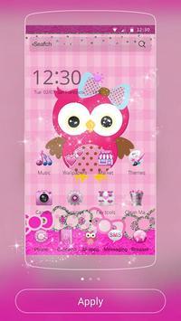 粉色猫头鹰主题 粉色蕾丝蝴蝶结主题 海报