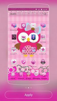 粉色猫头鹰主题 粉色蕾丝蝴蝶结主题 截图 1