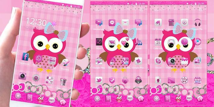 Pink Owl Theme Rosy Lace Bow screenshot 2
