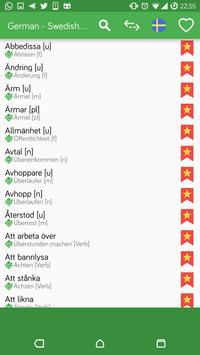 German - Swedish OFFLINE Dictionary apk screenshot