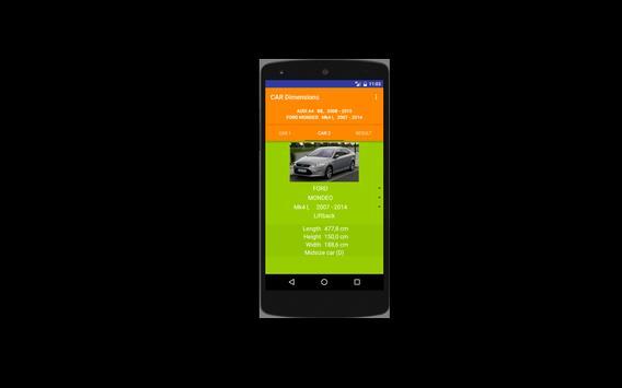 Car size comparison tool screenshot 4