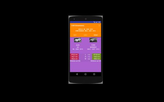 Car size comparison tool apk screenshot