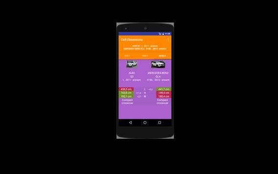 Car size comparison tool screenshot 2