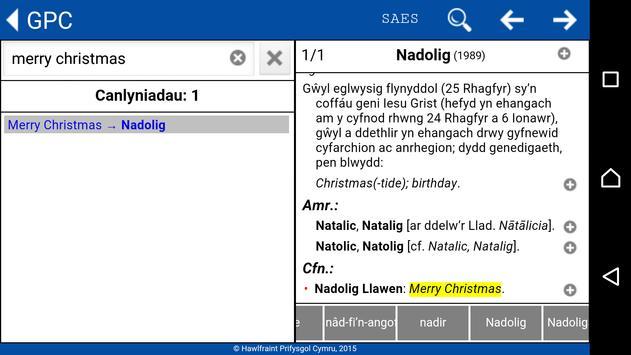 GPC Geiriadur Welsh Dictionary screenshot 6