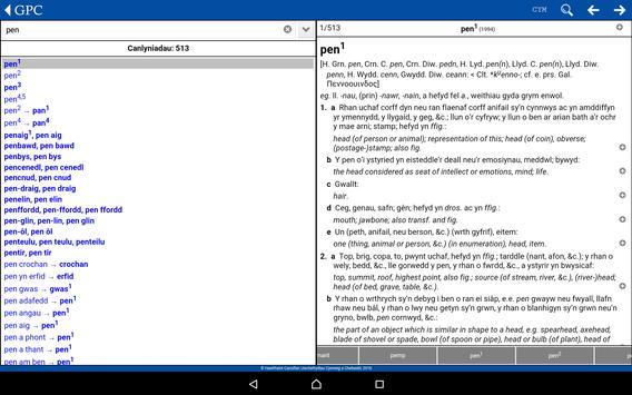 GPC Geiriadur Welsh Dictionary screenshot 7