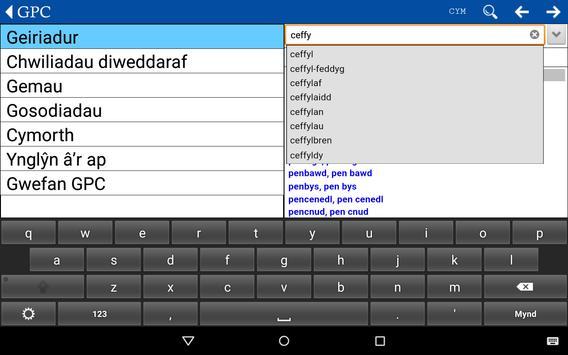 GPC Geiriadur Welsh Dictionary screenshot 15