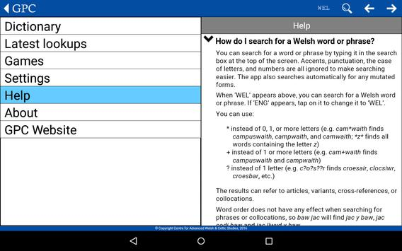 GPC Geiriadur Welsh Dictionary screenshot 20