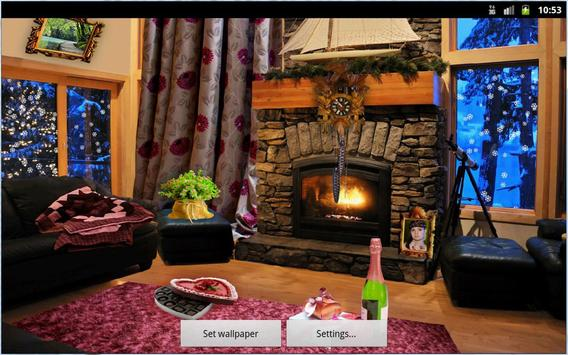 Romantic Fireplace Live Wallpaper Free poster