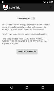 Safe Trip: SMS crash detector poster