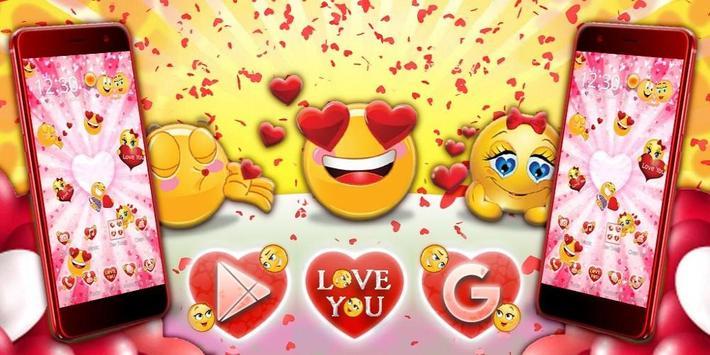 3D Valentine Love Emoji Theme screenshot 3