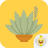 Green Floral Cactus Stickers icon