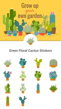 Green Floral Cactus Stickers poster