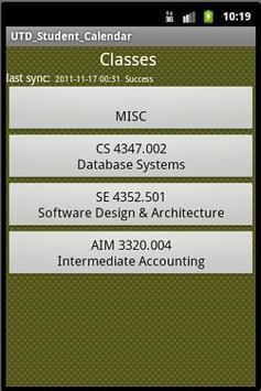 UTDallas Student Calendar apk screenshot