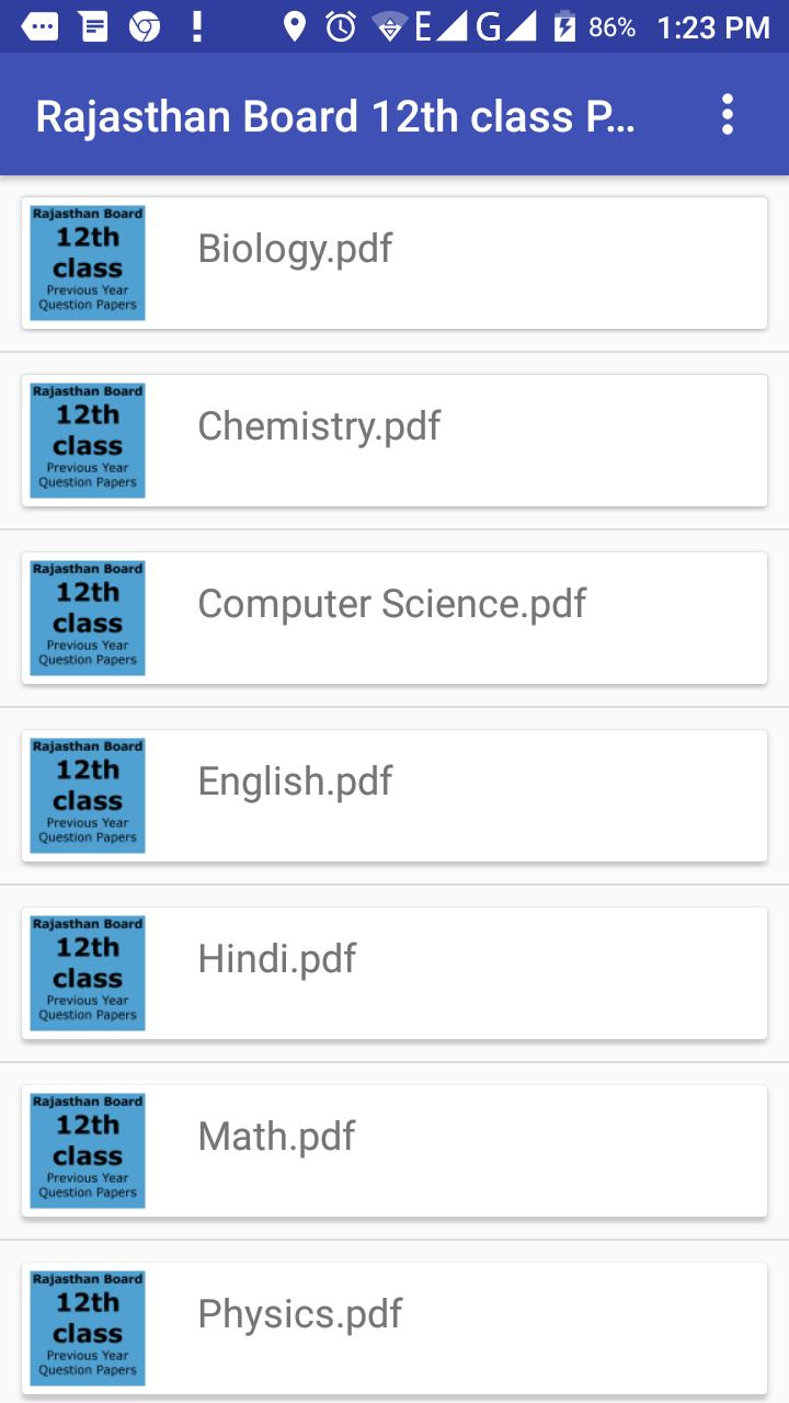 Rajasthan Board 12th Class previous year papers for Android