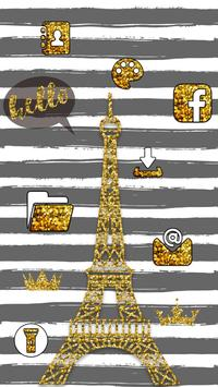 Eiffel Tower Gold Theme apk screenshot