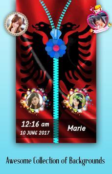 Albania Flag Zipper Lock Screen poster