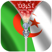 Algeria Flag Zipper Lock Screen icon