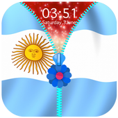 Argentina Flag Zipper Lock Screen icon