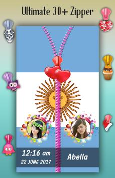 Argentina Flag Zipper Lock Screen apk screenshot