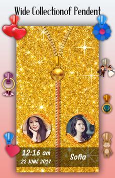 Golden Zipper Lock Screen apk screenshot