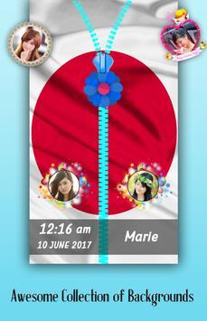 Japan Flag Zipper Lock Screen poster