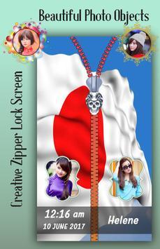 Japan Flag Zipper Lock Screen apk screenshot