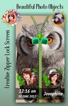 Owl Zipper Lock Screen apk screenshot