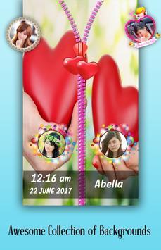 Love Heart Zipper Lock Screen poster