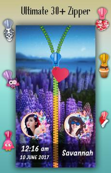 Lavender Zipper Lock Screen apk screenshot