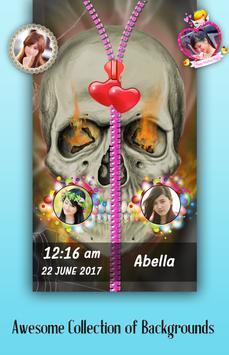 Skull Zipper Lock Screen poster