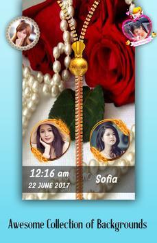 Pearl Rose Zipper Lock Screen poster