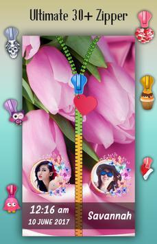Pink Flowers Zipper Lock Screen screenshot 3