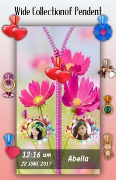 Pink Flowers Zipper Lock Screen apk screenshot