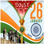 Republic Day Zipper Lock Screen icon