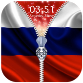Russia Flag Zipper Lock Screen icon