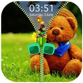 Teddy Bear Zipper Lock Screen icon