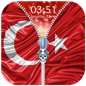 Turkey Flag Zipper Lock Screen icon