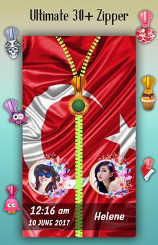 Turkey Flag Zipper Lock Screen screenshot 3